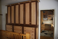 Combination of Maple and Walnut is used in this design of dresser.
