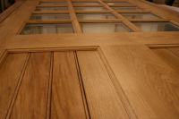 Detail of an exterior door made in solid Oak for a rear entrance in our Mill