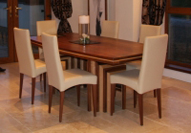 Art Décor style dining table in Walnut and Maple.