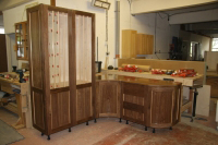 Walnut & Maple cabinets in construction
