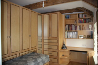 Compact bedroom in Art Décor style, Maple with Walnut detailing