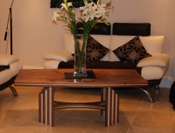 Art Décor style coffee table in Walnut and Maple, 1/3rd size of a matching dining table.